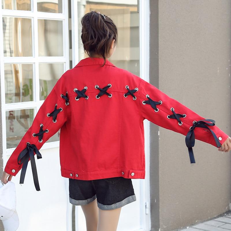 Hchenli Brand 2018 Women Short Jeans Jacket red blue Ladies Elegant denim Jacket zipper outerwear printing fruit outwear