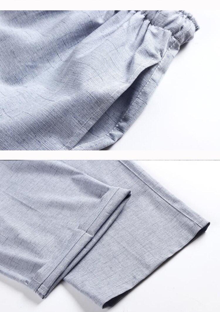 WAEOLSA Oriental Men Linen 2PCS Pant Suits Summer Man Beige Gray Tunic Shirt And Pant Set Male Embroidery Ensemble Homme Tangzhuang Set (1)