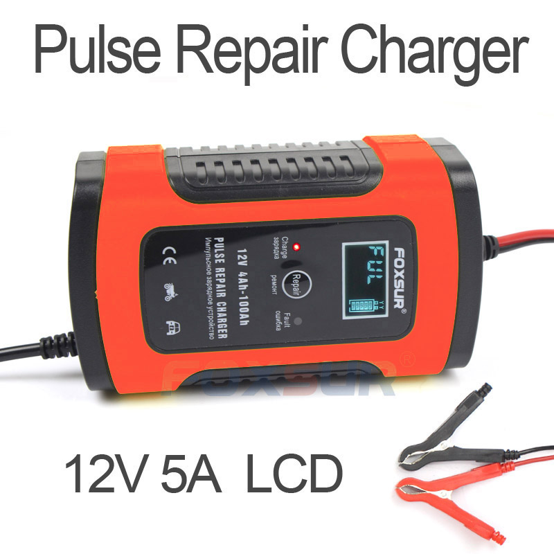 FOXSUR 12V 5A Pulse Repair Charger with LCD Display Motorcycle Car Battery Charger 12V AGM GEL
