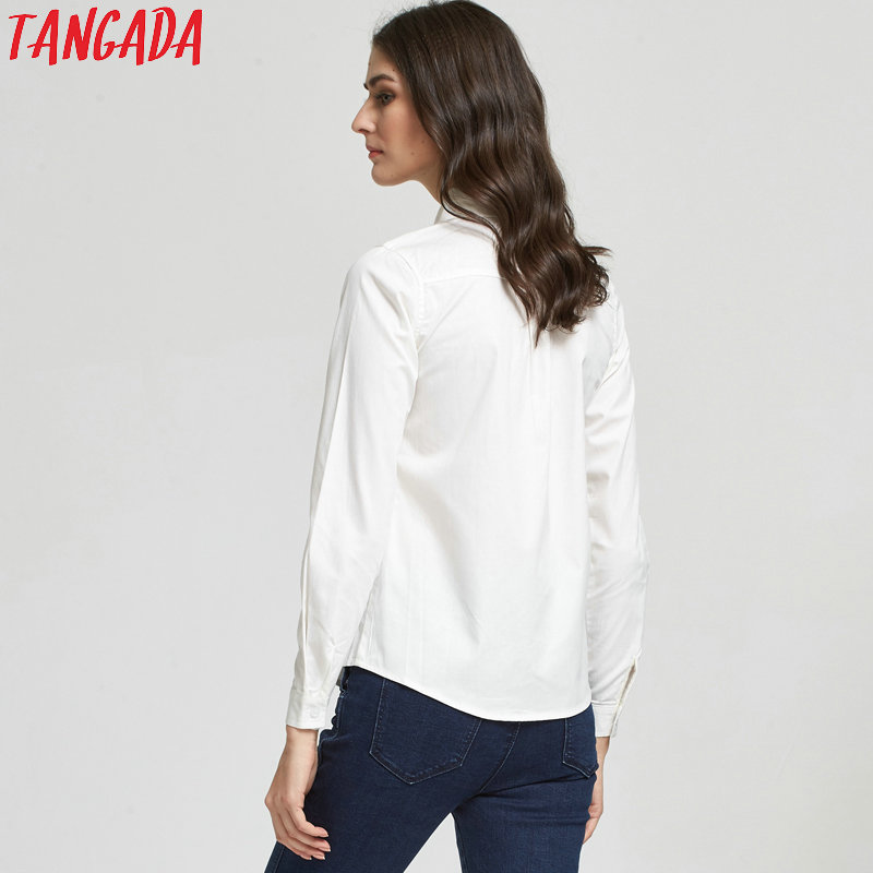 509c0427f0d3 Tangada Fashion Elegant Giraffe Embroidery White Blouses For Women Turn  down Collar Button Cotton Shirt Casual brand female -in Blouses & Shirts  from ...