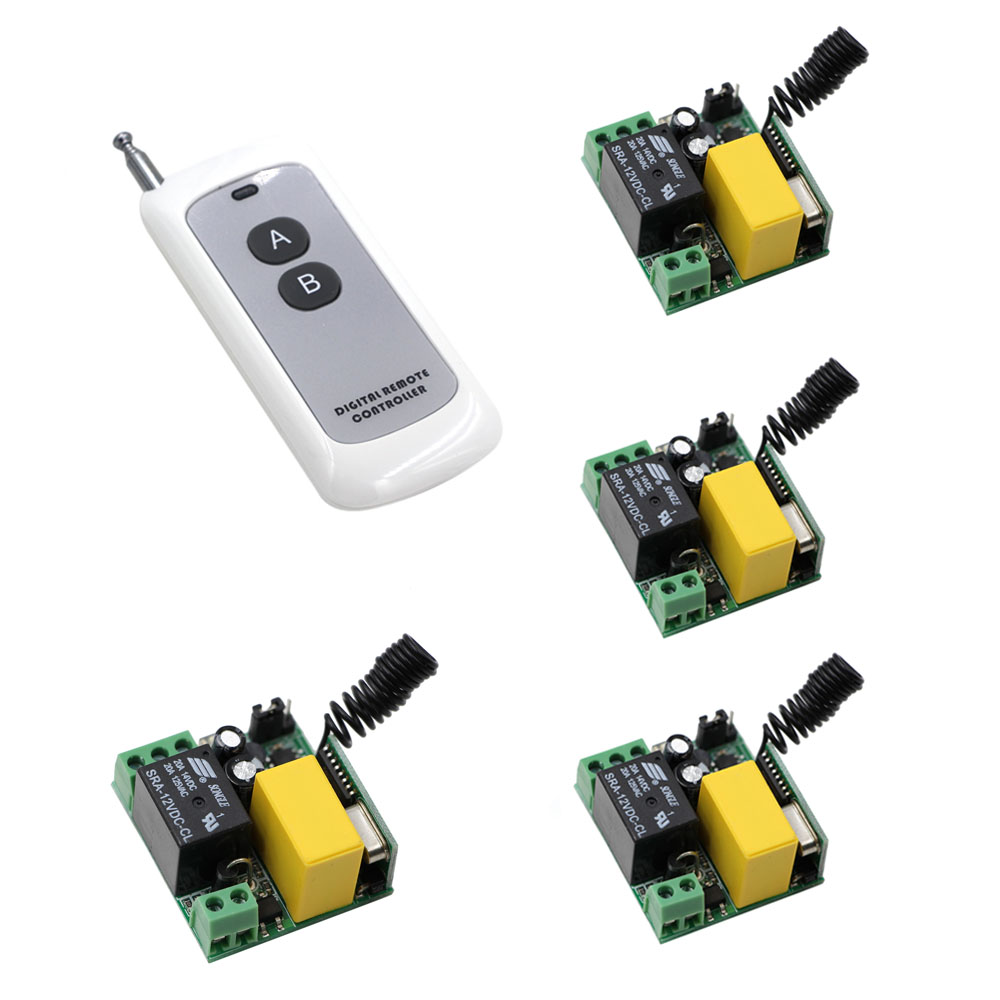 Wireless Remote Control Switch AC 220V 1CH High Power 4*Receivers +Transmitter ON OFF Controller Home Office Pump Led Motor Fan 220v 1ch radio wireless remote control switch light lamp led on off 12 receivers