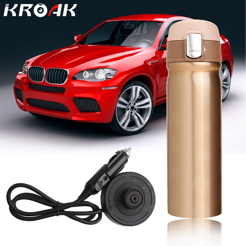 12V 400ml Car Travel Auto Stainless Steel Heating Electric Bottle Coffee Tea Cup My Boiling Water Bottle Vacuum Flasks eyki h5018 high quality leak proof bottle w filter strap gray 400ml