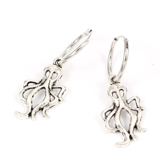 Octopus Shaped Hoop Earrings for Women