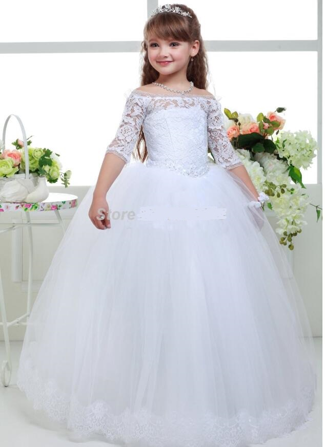 Girls Wedding Formal Dresses 2018 Longsleeve Lace Off-Shoulder Flowers Girls Princess Dress Kids Birthday Party Prom Dress White half sleeve toddler girls show performance lace flowers white christening noble wedding princess bowknot party formal dress