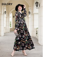 Vintage Long Dress 2018 Autumn Winter Evening Party Maxi Dress Velvet Women V Neck Retro Flower Print Long Sleeve Velour Dress