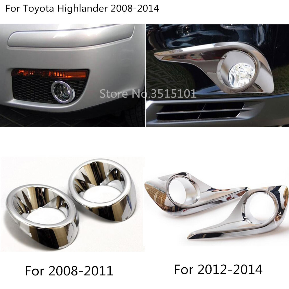 ABS Chrome Front Fog Light Lamp Cover Trim 2pcs for Toyota Highlander 2008 09 10