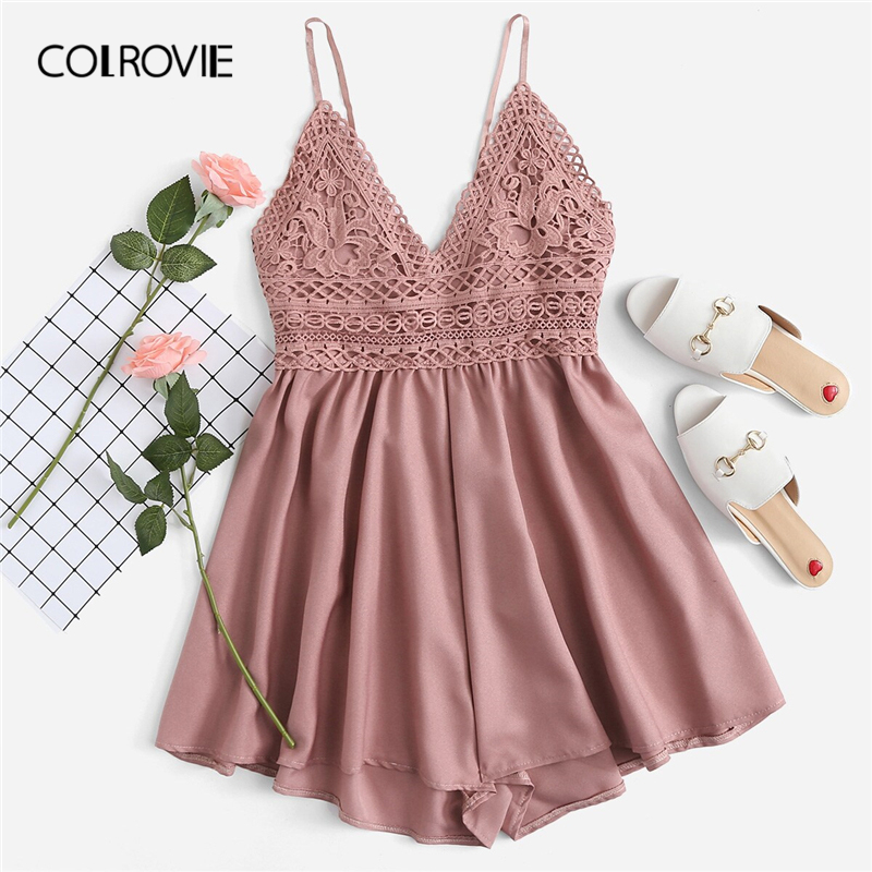 COLROVIE Pink Solid V Neck Backless Contrast Lace Knot Back Cami Boho Romper Women 2019 Summer Sexy Girly Rompers Short Jumpsuit
