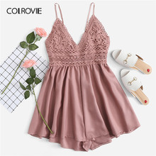 COLROVIE Pink Solid V Neck Backless Contrast Lace Knot Back Cami Boho Romper Women 2019 Summer Sexy Girly Rompers Short Jumpsuit(China)