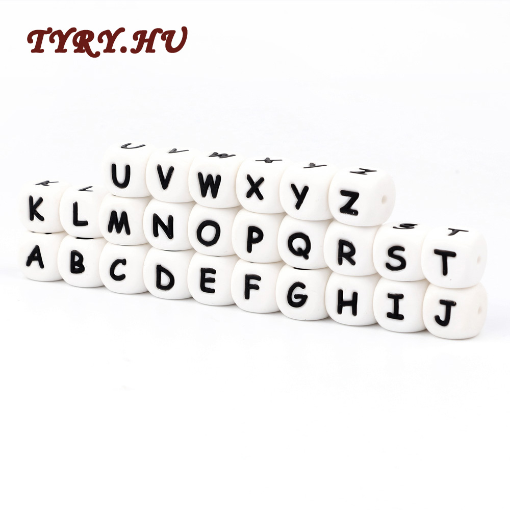 TYRY HU 200PCS 12mm Letter Food Grade Silicone Beads Baby Teether Beads Chewing Alphabet Bead For