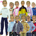 Free Shipping Random 3 Sets Cool Casual Suit Fashion Wear Outfit Jacket Clothes For Barbie BF Prince Ken Doll Best Gift baby Toy