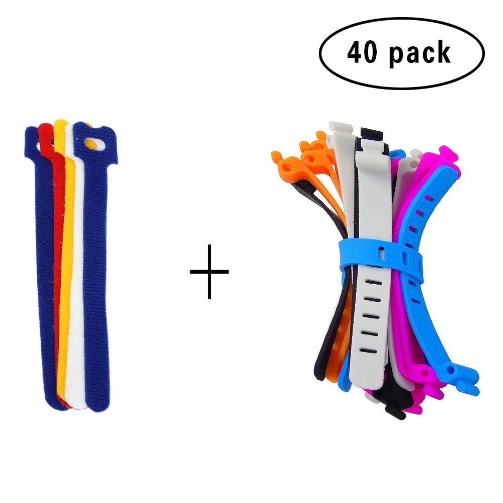 20Pcs Reusable Hook and Loop Fastening Cable Ties with Microfiber Cloth and 20PCS Silicone Bag Ties Cable Management цена 2017