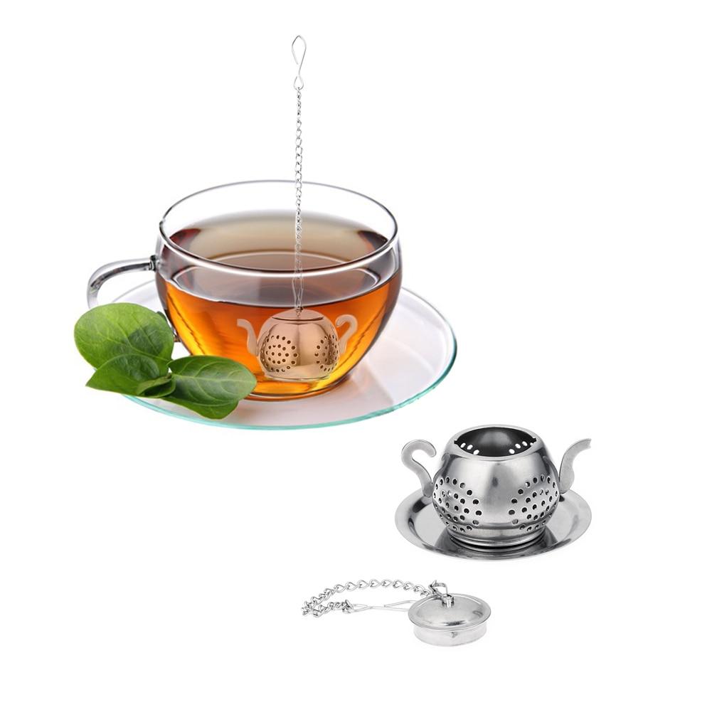 Kitchen Tea Accessories: Stainless Steel Tea Infuser Teapot Tray Spice Tea Strainer