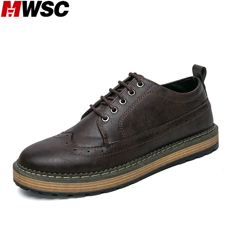 MWSC 2017 Autumn New Male Leather Casual Brogue Shoes Men's Low Top Vintage Style Fashion Business Shoes new 2017 men s genuine leather casual shoes korean fashion style breathable male shoes men spring autumn slip on low top loafers