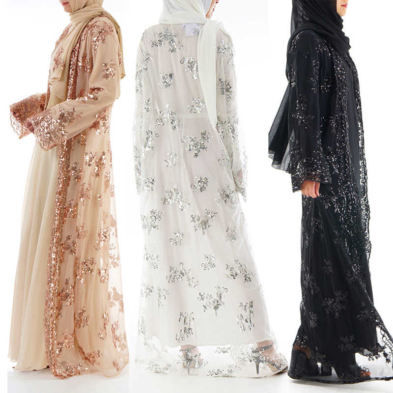 2019 Лето abaya Дубай женские длинные расшитые блестками кружева сетки кимоно кардиган мусульманское платье ХИДЖАБ КАФТАН абайя турецкая исламская одежда