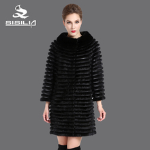 SISILIA New Style Ladies' Real Fur Coat Genuine Leather Mink Fur Coat Multicolor Fashion Mink  Joint Derm Winter Coats Of Fur