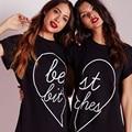 Melhores Amigos Camiseta Mulheres Camiseta 2017 Verão Tops de T-Shirt femme manga curta mulheres clothing plus size puck tumblr preto Tees