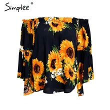Simplee Off shoulder floral print blouse women Flare sleeve bohemian beach blouse shirt Casual blusas summer tops tees 2018