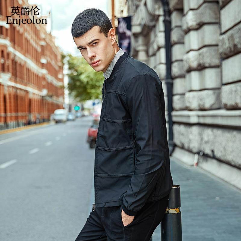Enjeolon značka jarní bundy muži ležérní větrovka černá bunda kabát Muži chladné kabáty 4XL kauzální bunda kabát pánské oblečení WT0221