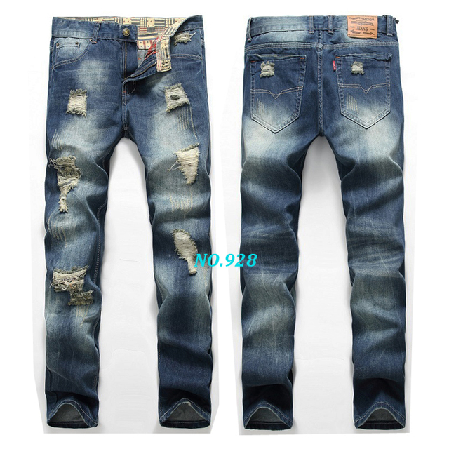 2017 new high quality men jeans hole Casual ripped jeans men hiphop pants Straight jeans for men denim trousers  jeans