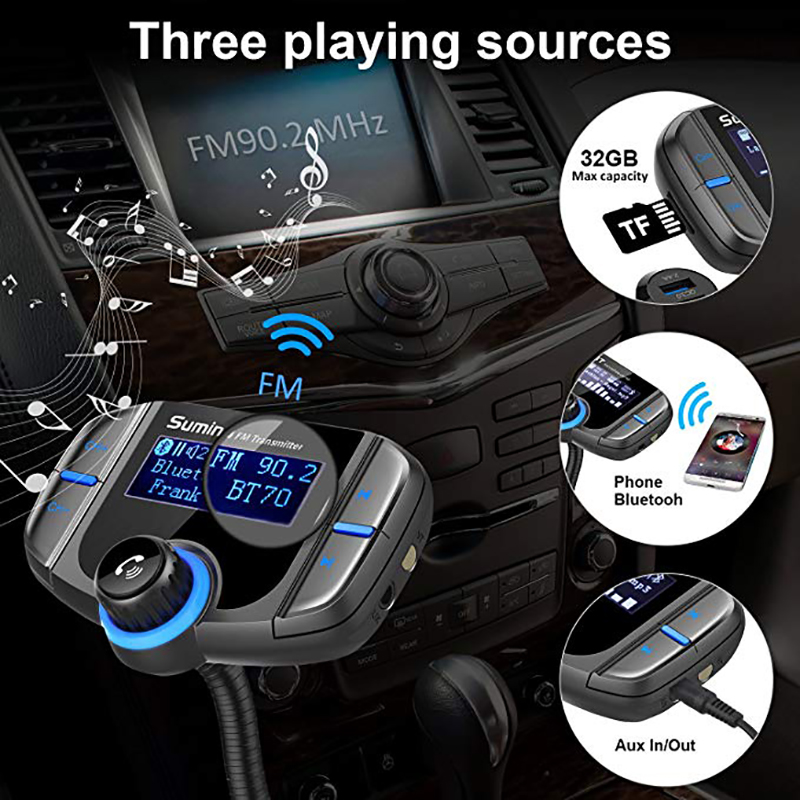 Sumind Car Bluetooth FM Transmitter Wireless Radio Adapter Hands-Free Kit