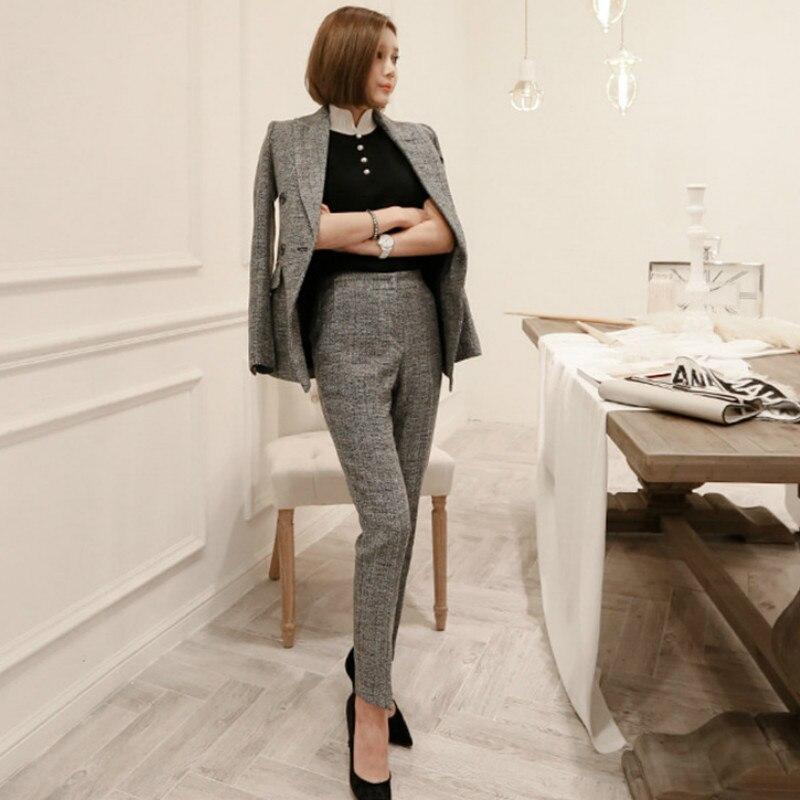 2019 New Business Suits Ladies Ensemble Blazer Pantalon Femme Suit Office Women High Quality Slim Suit Pants Suit Female