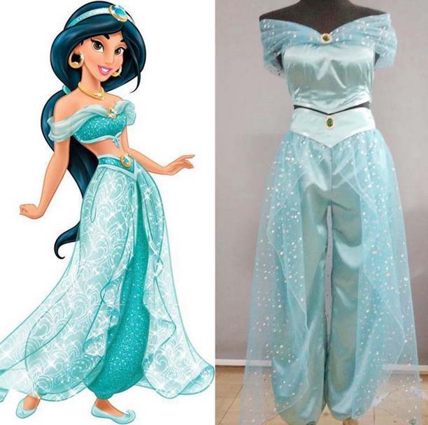 Adult Women Girl Children Anime Aladdin Princess Jasmine Cosplay Costume