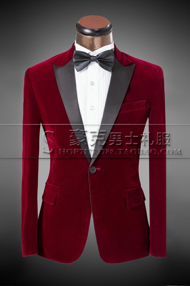 31f359cd7dc7a US $67.0 |Groom wedding dress suits for men costume studio installed Claret  velvet suit tuxedo evening wear jacket pants -in Suits from Men's Clothing  ...