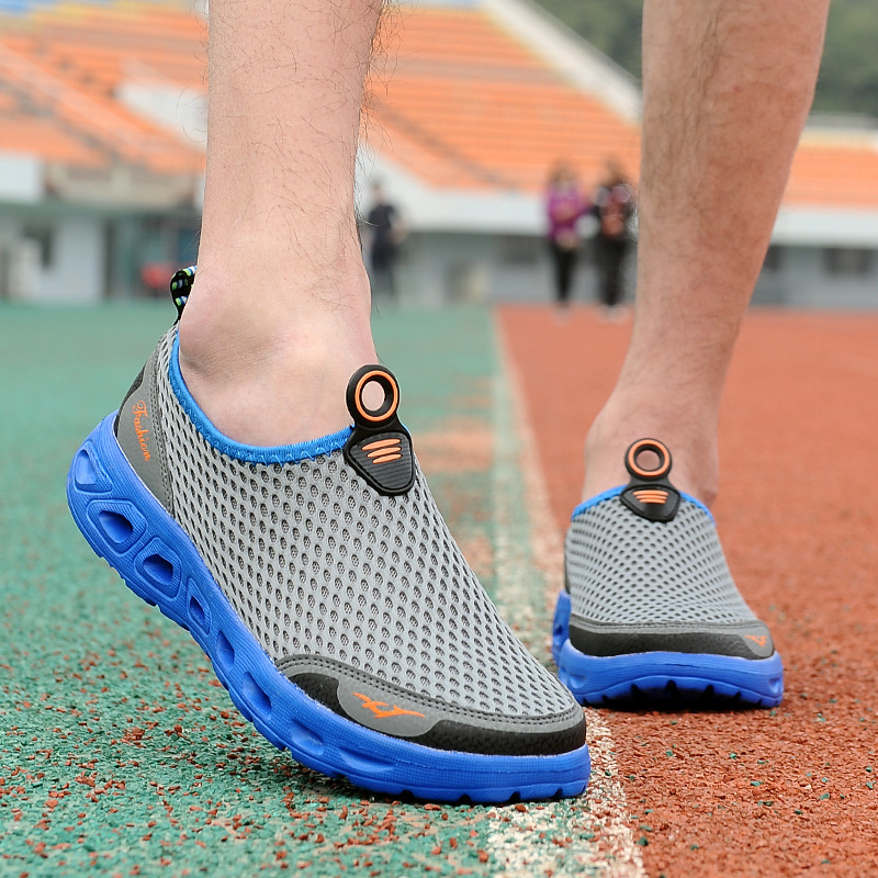 Men Casual Shoes Plus Size 39-45 2018 New Arrival Men's Air Mesh Fashion Shoes Slip-on Solid Breathable Flats