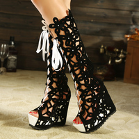 Open Toe Boots Tassels Gladiator Sandals Women Summer Knee High Heels Roman Hollow Fringe Female Sexy