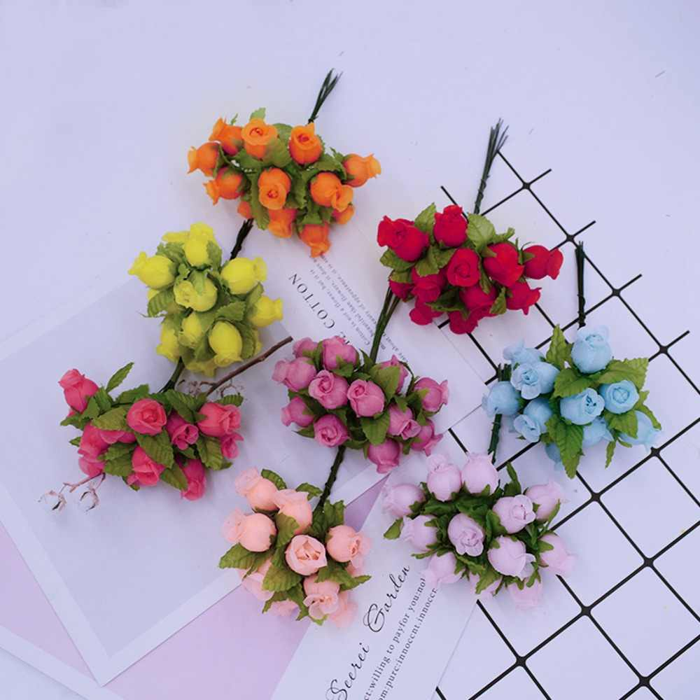 12pcs/bundle artificial flowers MINI silk roses diy wreath gifts christmas decor for home wedding bridal brooch fake flowers