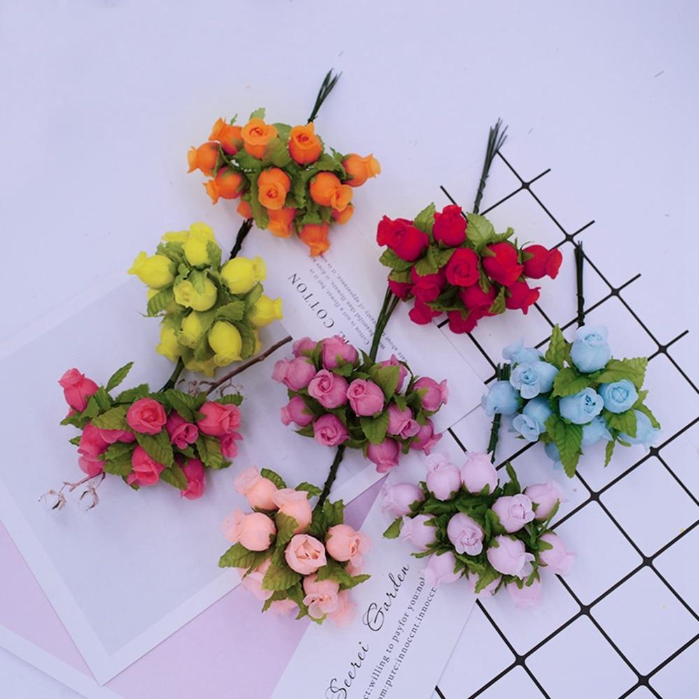 12 шт./комплект Искусственные цветы мини шелковые розы diy ВЕНОК подарки Рождественский Декор для дома свадебная брошь невесты поддельные цветы