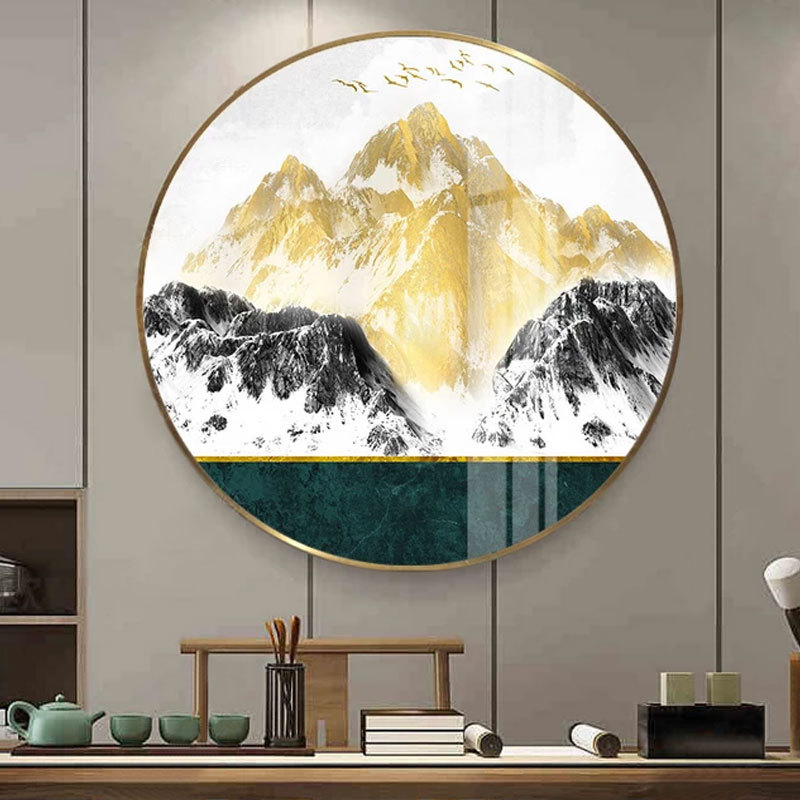 Crystal Mountain peak bird frame living room decorative painting luxury modern Nordic abstract paintings Entrance mural