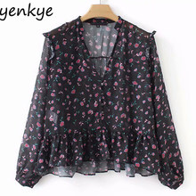 9f9a5ef08e6 Women Long Sleeve Vintage Floral Print Blouse Shirt Female V Neck Semi-sheer  Chiffon Blouses Plus Size Tops blusas AAZZ9039