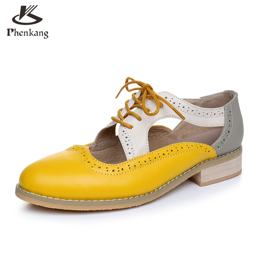ФОТО Genuine leather big woman US size 11 designer vintage shoes round toe handmade yellow beige grey 2017 oxford shoes for women