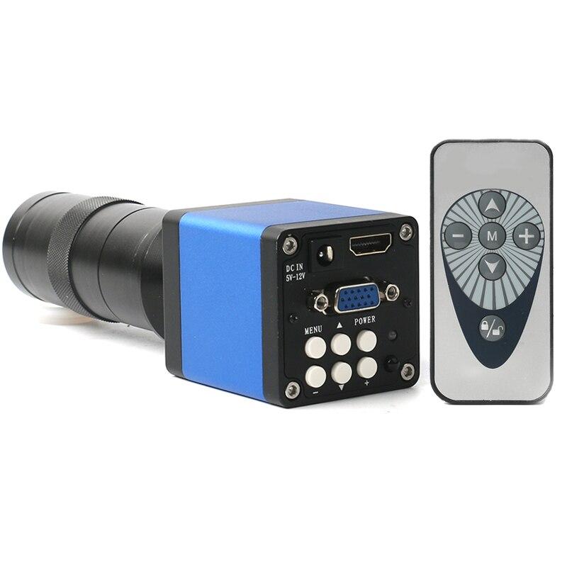 """Nouveau 720P 14MP 1/3 """"numérique industrie vidéo Microscope caméra HDMI VGA 60F/S IR + 100X C-MOUNT lentille pour téléphone PCB soudure réparation"""