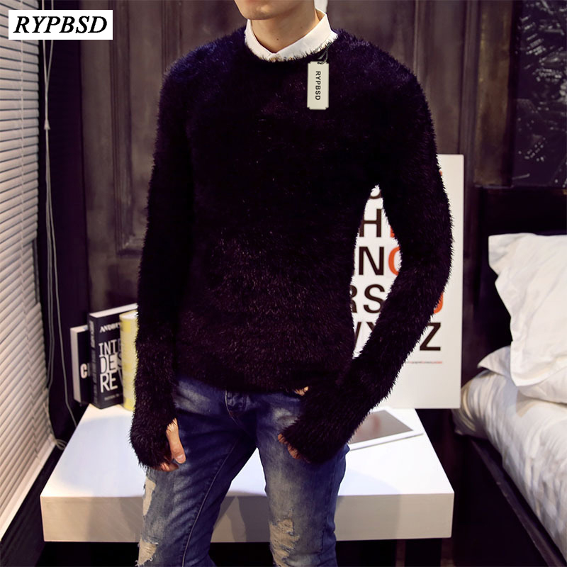 Mink Cashmere Men Sweater Fall 2018 New Mohair Pure Color Warm Sweater Cotton Mens Sweaters Slim Cashmere Sweater Men 2 Colors