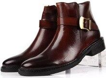 Коричневый загар/черный мода мужская бизнес обувь повседневная мужская ботильоны Острым Носом неподдельной кожи офисные туфли мужские зимние обувь