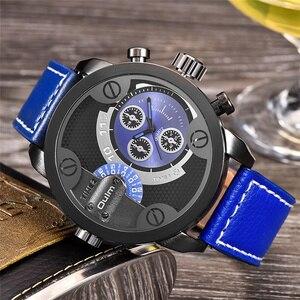 Image 2 - Oulm Militaire Horloges Luxe Merk PU Leer Quartz Horloge Man Twee Tijdzone Grote Size Mannelijke Klok Uur relogio masculino