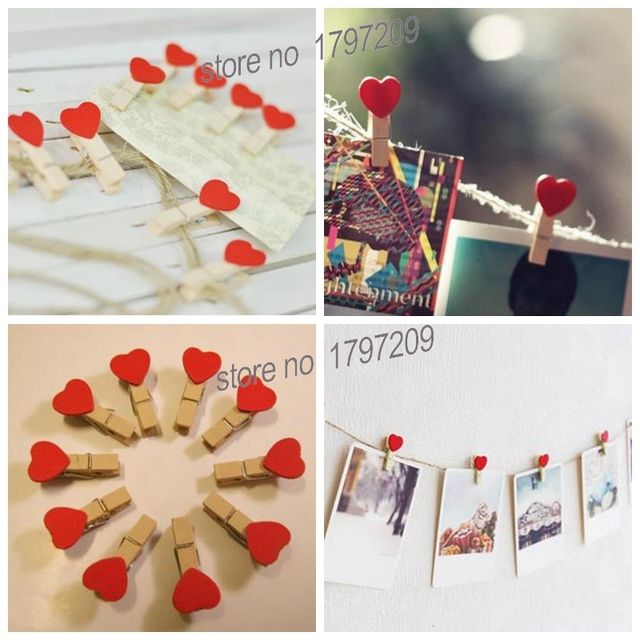 10 Pcs Lot Useful Mini Wooden Paper Photo Clip Peg Craft DIY Clips Wedding Decorations