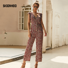 SKOONHEID Chiffon Floral Jumpsuits Women Long Pants V Neck W