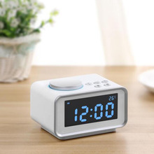 Cheaper Multi-function FM Radio Alarm Clock Snooze Indoor Thermometer Dual USB Port Charger LCD Clock E2S