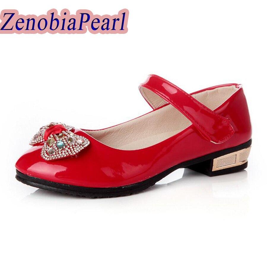 ZENOBIAPEARL Children Shoes Girls Princess Party Leather Shoes Flower Girl Rhinestones Shoes Kids Bowtie Dress Shoes Size 26-36