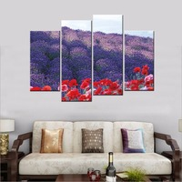 The Lavender Scenery Modern Floral Canvas Prints Artwork 4 Panel Abstract Flower Painting Wall Pictures For