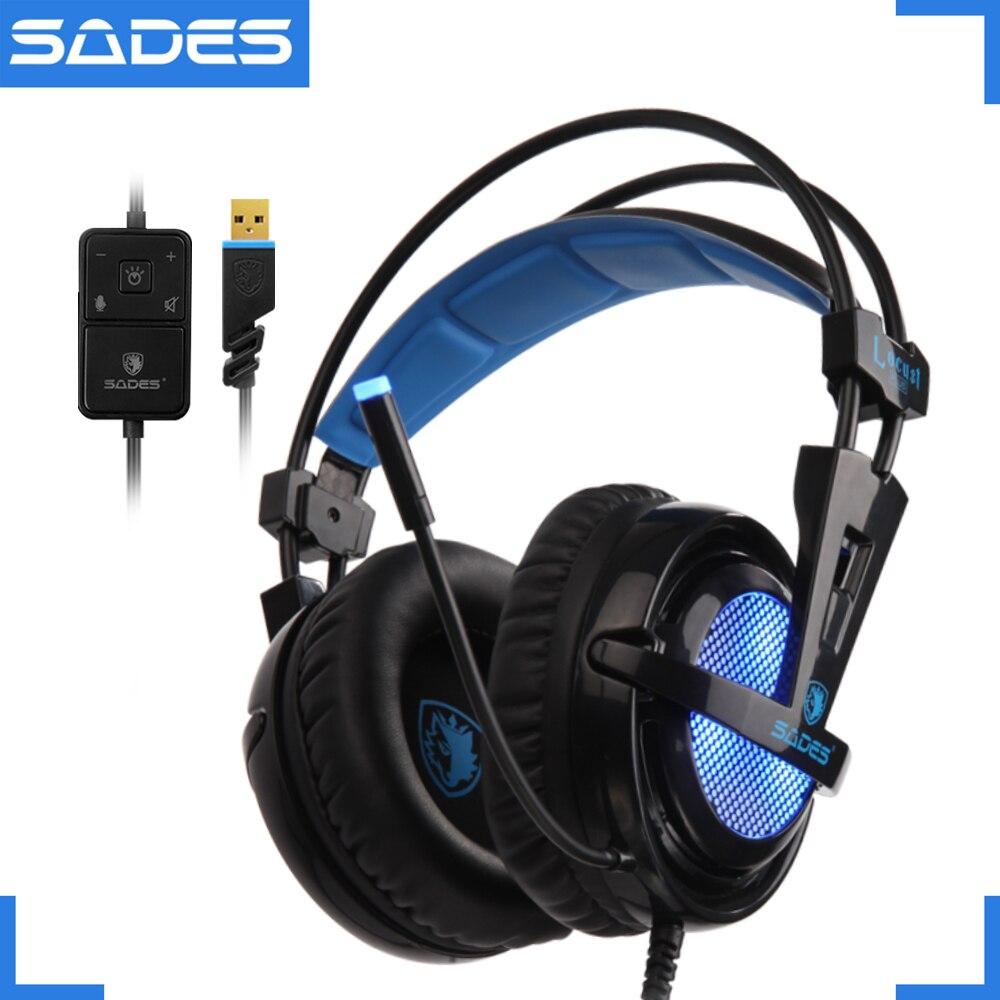 SADES Locust Plus Headphones 7.1 Surround Sound Headset elastic suspension Headband Earphones with RGB LED Light for PC/Laptop