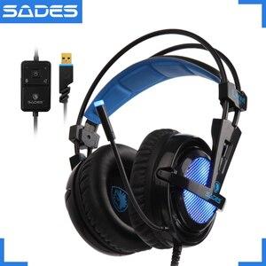 Image 1 - SADES Locust Plus Kopfhörer 7,1 Surround Sound Headset elastische aufhängung Stirnband Kopfhörer mit RGB LED Licht für PC/Laptop