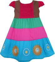 Girls Dress Colour Block Smocked Embroidered Flower Red 2 6