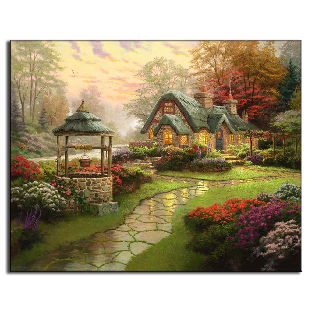 1 PCS Landscape Prints on Canvas Painting Pastoral Rainy Garden with ...