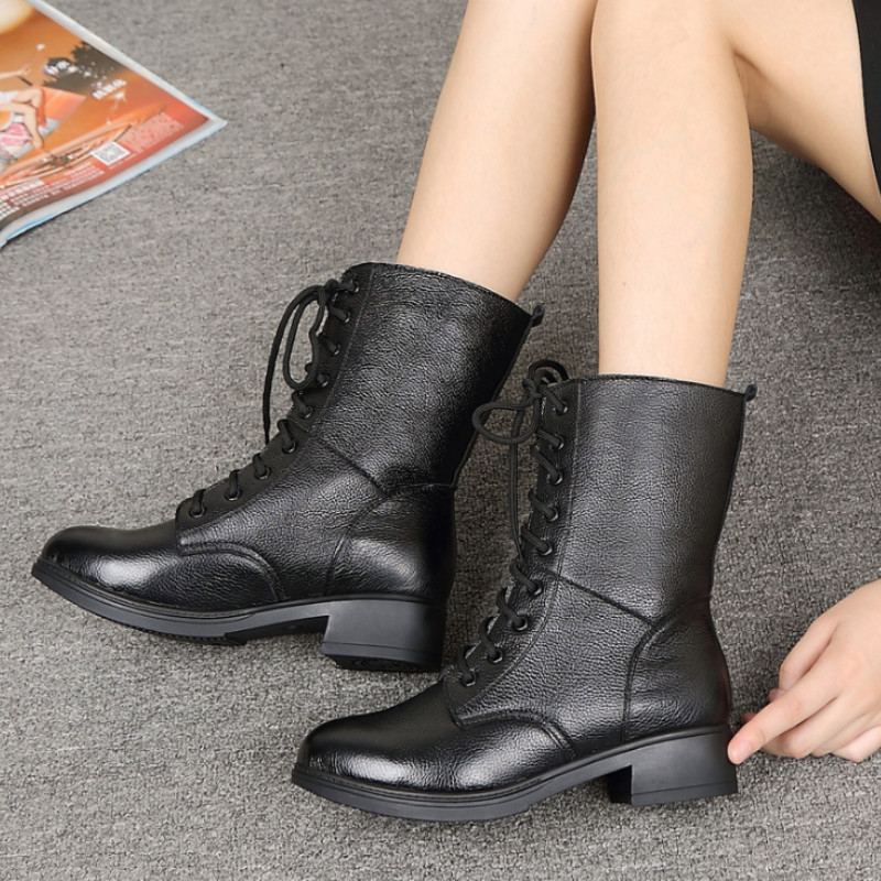 Women Old Female Ladies Mother Winther Shoes Boots Fur Short Plush Warm Mid Calf Cow Genuine Leather 35-41 OL-7011Women Old Female Ladies Mother Winther Shoes Boots Fur Short Plush Warm Mid Calf Cow Genuine Leather 35-41 OL-7011