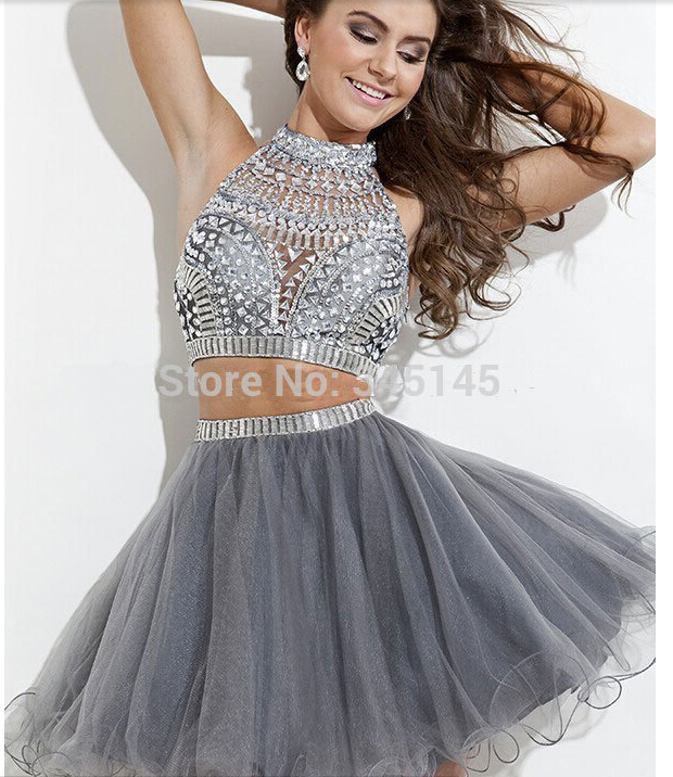 Hot sale silver grey beaded short tulle two piece prom for Silver wedding dresses for sale