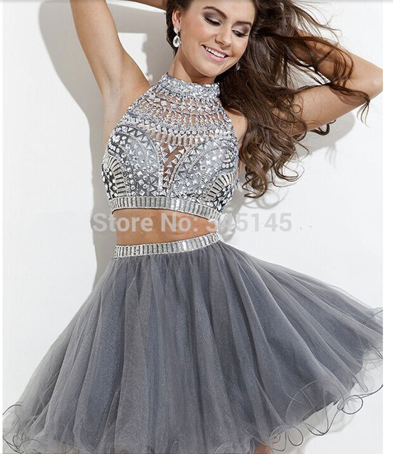 cb7a4f66399 Hot Sale Silver Grey Beaded Short Tulle Two Piece Prom Dress 2017  Homecoming Gowns For Girls Crystal Design